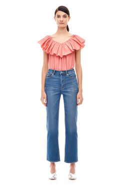 On Shoulder Taffeta Top - Coral