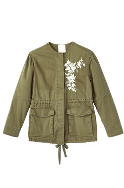 La Vie Embroidered Twill Military Jacket