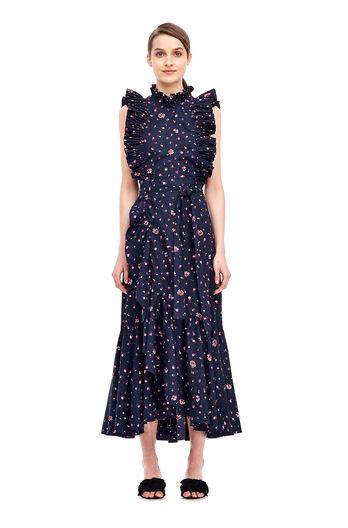 Mia Floral Wrap Skirt - Dark Navy