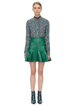 Embossed Leather Skirt - Emerald