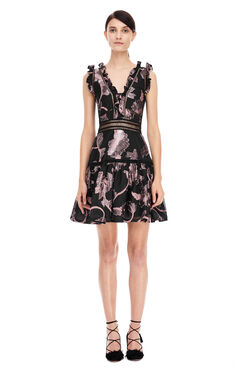 Ella Fil Coupe Dress - Black/Camellia