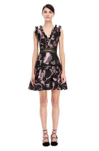 Ella Fil Coupe Dress - Black/Camellia
