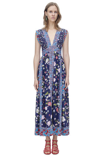 Sleeveless Tapestry Garden Midi Dress