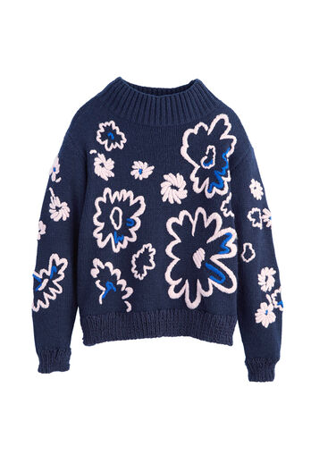 Floral Embroidery Pullover