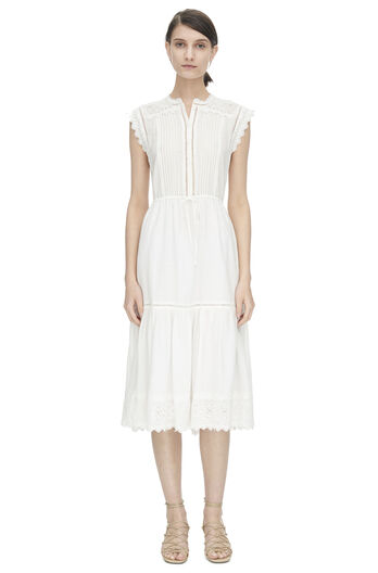 Sleeveless Stitched Square Embroidered Dress