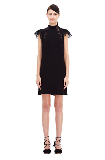 Crepe Lace Dress - Black