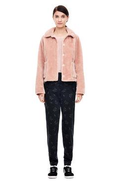 La Vie Faux Shearling Jacket - Pink Sand