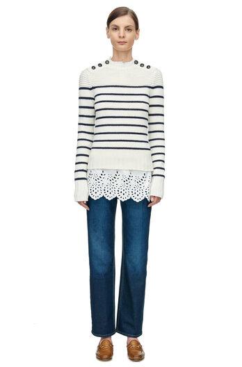 La Vie Cotton Stripe Pullover - Chalk W/ Navy Stripes