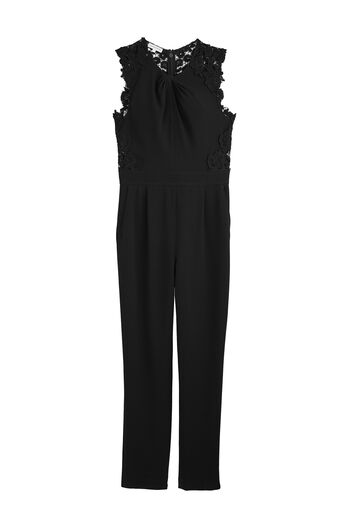 Crepe and Lace Jumpsuit