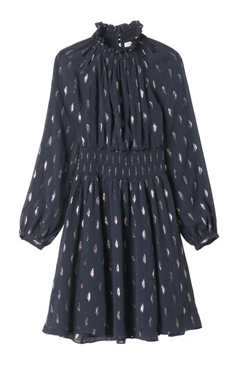 Long Sleeve Metallic Clip Dress