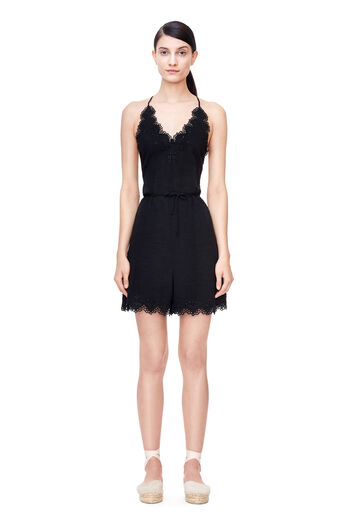Amora Embroidered Romper - Black