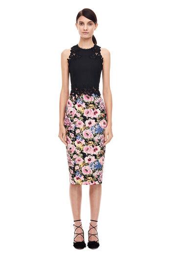 Lavinia Rose Pencil Skirt - Black/Camellia