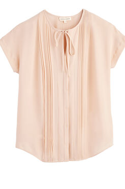 Silk Georgette Pintuck Top