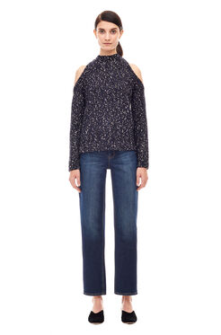 Open Shoulder Bouclé Pullover - Black Combo