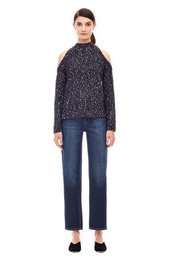 Open Shoulder Bouclé Pullover - Black Combo