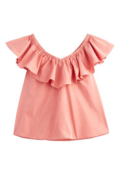 On/Off-Shoulder Taffeta Top