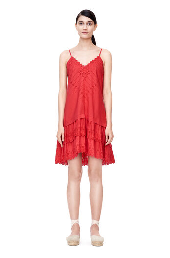 La Vie Alice Eyelet Dress - Soft Rouge