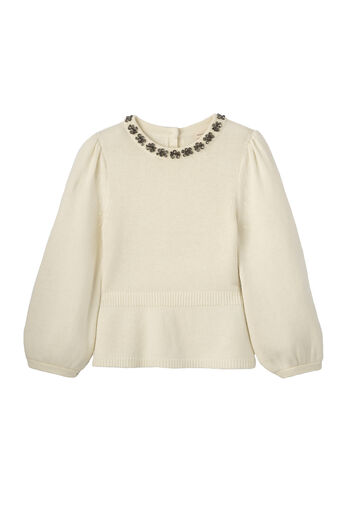 Embellished Peplum Pullover