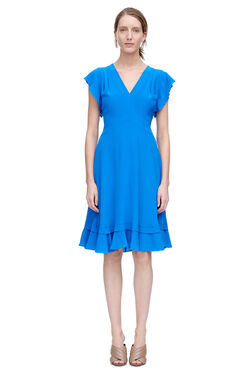 Sleeveless V-Neck Silk Dress - Skydiver Blue