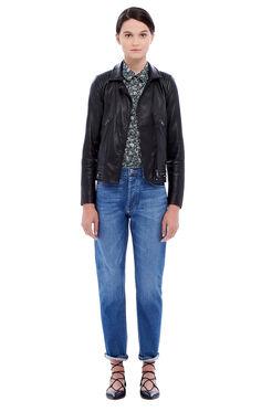 Garment Washed Leather Jacket - Black