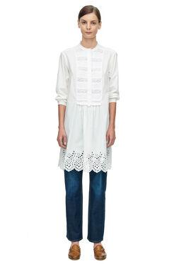 La Vie Long Sleeve Poplin Lace Dress - Chalk
