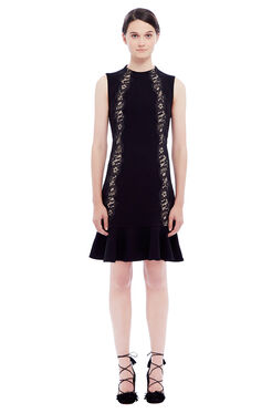 Crepe Lace Detail Dress - Black