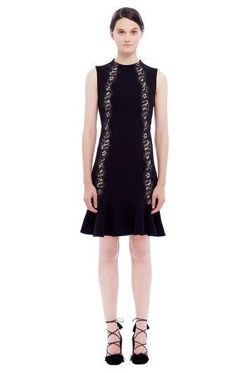 Crepe Lace Detail Dress - Black