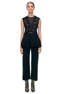 Sleeveless Lace Mix Top - Black