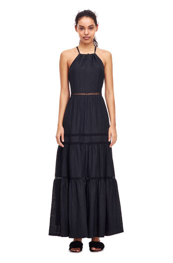 Textured Floral Maxi Dress - Black