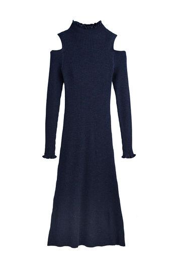Open Shoulder Ribbed Dress