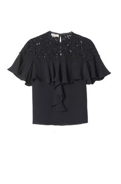 Short Sleeve Georgette & Lace Top