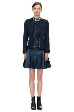 Tweed Embellished Jacket - Navy/Black
