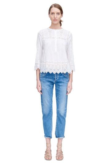 Long Sleeve Voile Lace Top