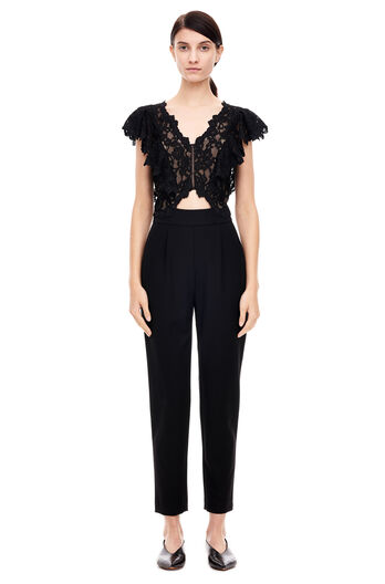 Lace Suiting Jumpsuit - Black