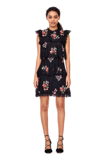 Lace Embroidered Dress - Black