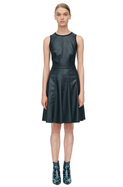 Sleeveless Vegan Leather Dress - Black