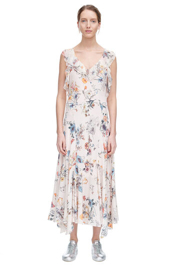 Sleeveless Meadow Floral Ruffle Dress