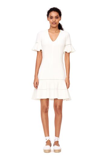 Stretch Textured V-Neck Dress - Snow