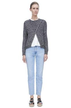 Dot Knit Crossover Pullover - Black