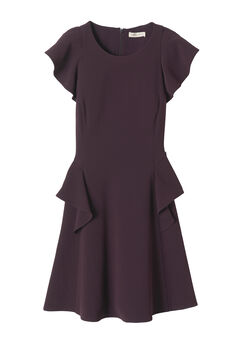 Short Sleeve Crepe Ruffle Dress
