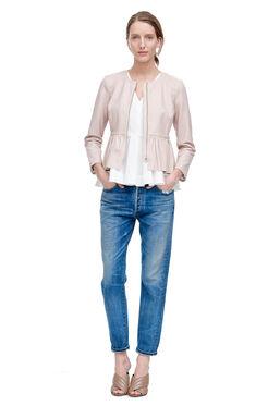 Peplum Leather Jacket - Pale Blush