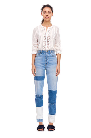 Embroidered Eyelet Top - Snow