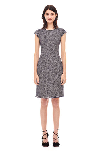 Confetti Tweed Dress - Dark Navy Combo