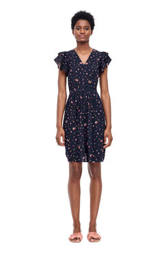 Mia Floral V-Neck Dress - Dark Navy