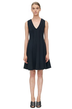 Sleeveless Diamond Texture Dress - Black