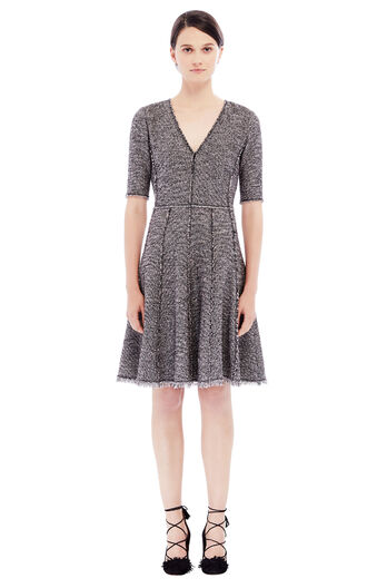 Stretch Boucle Tweed Dress - Teaberry Combo