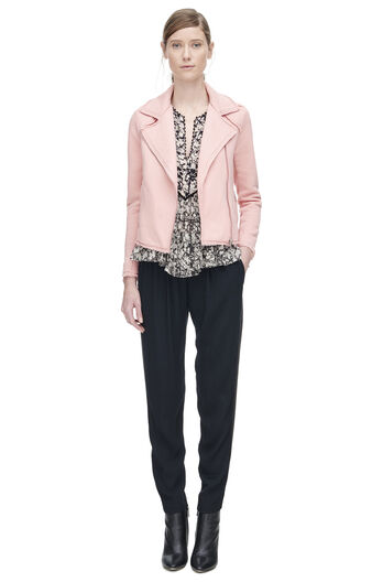 Cozy Knit Moto Jacket - Flamingo