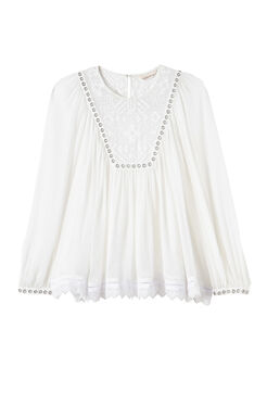 Long Sleeve Stitched Square Embroidered Top