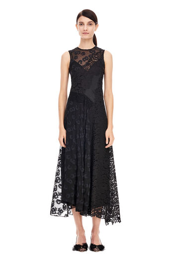 Chevron Lace Dress - Black