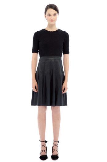 Knit Top Vegan Leather Dress - Black